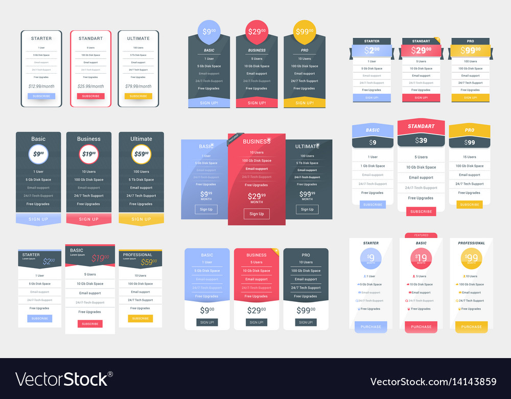 Collection of coloful pricing table design