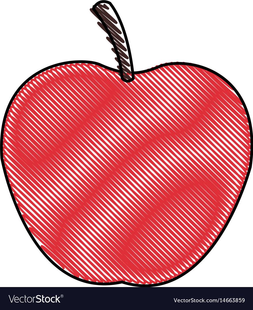 Draw apple juicy fruit food healthy
