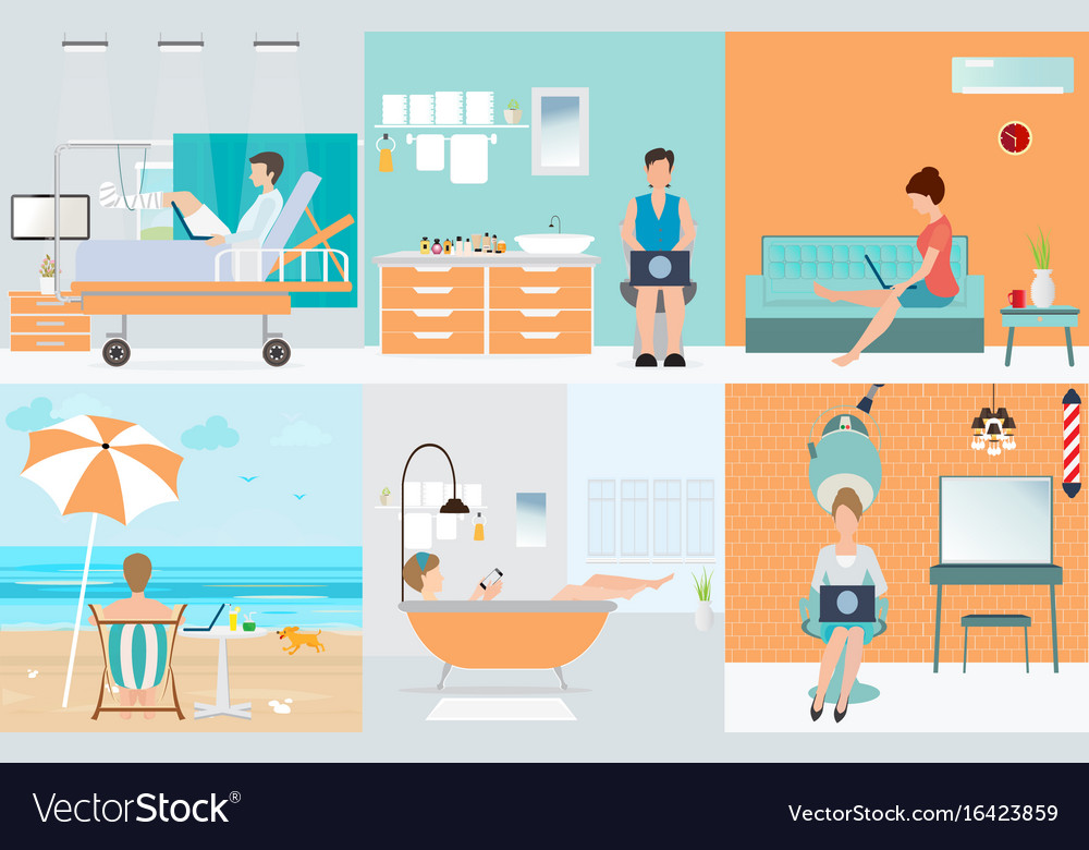 Freelance set with various cartoon character vector image