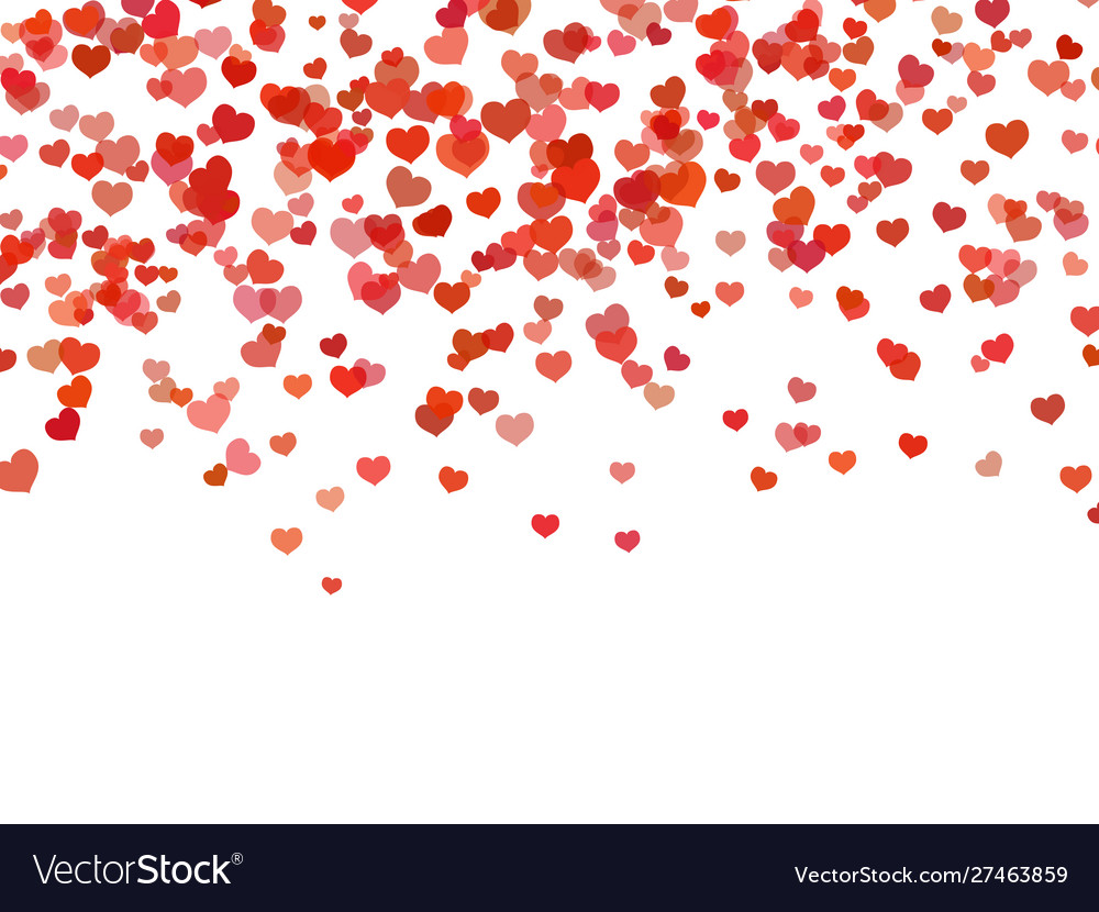 Heart background falling red love hearts confetti