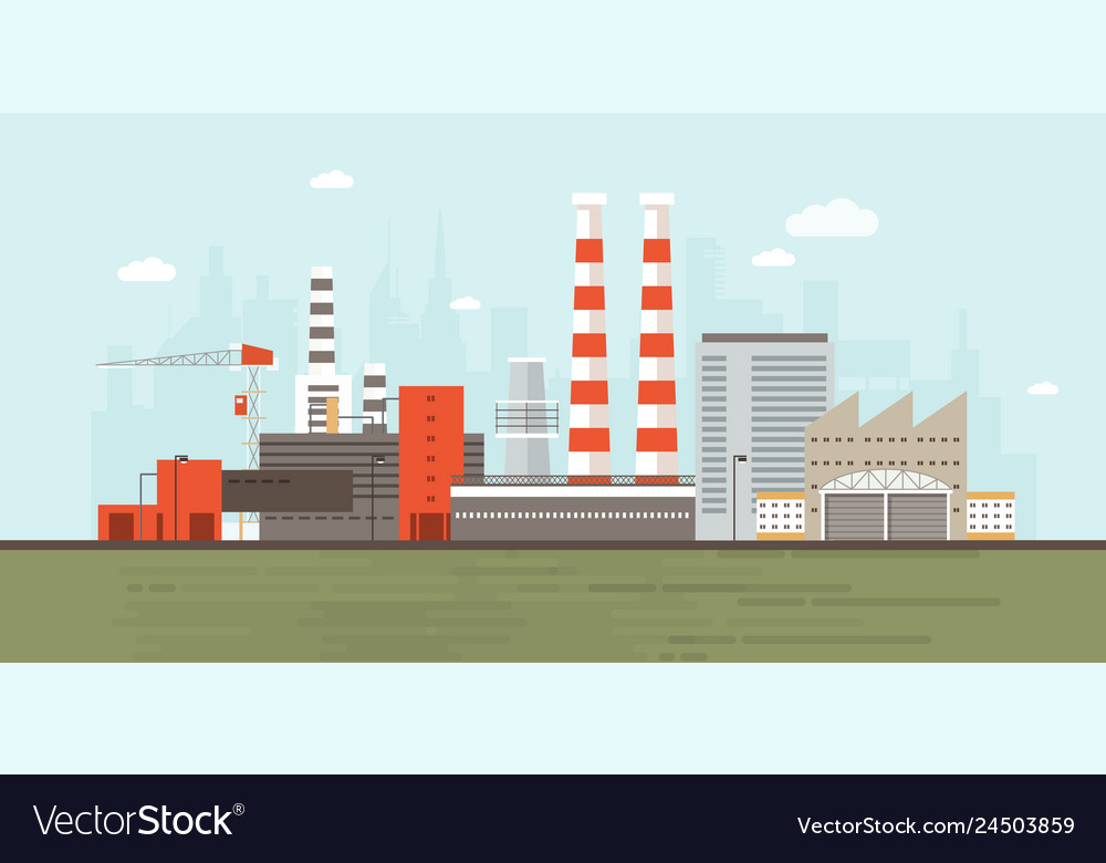 Industrial park or zone with factory buildings