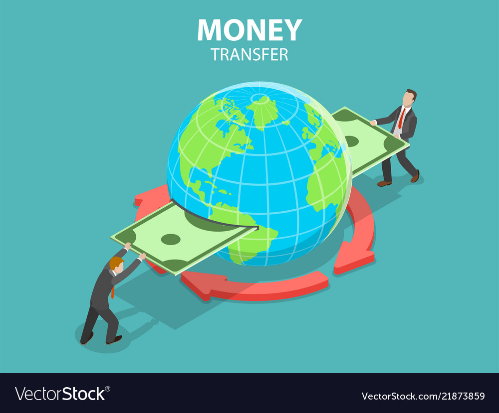 Money Transfer Isometric Flat Vector Image
