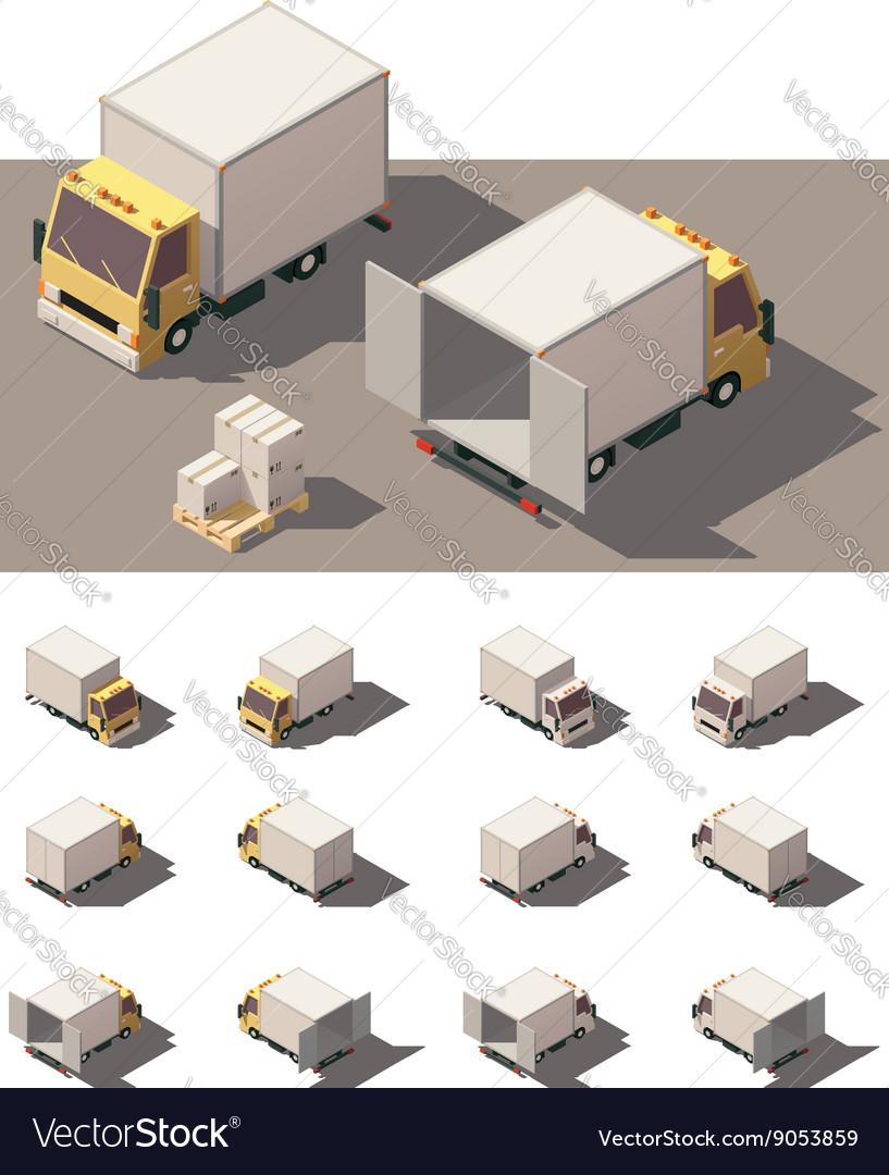 Isometric box truck icon set