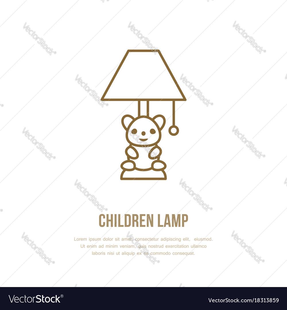 Kids table lamp flat line icon home lighting vector image aloadofball Image collections