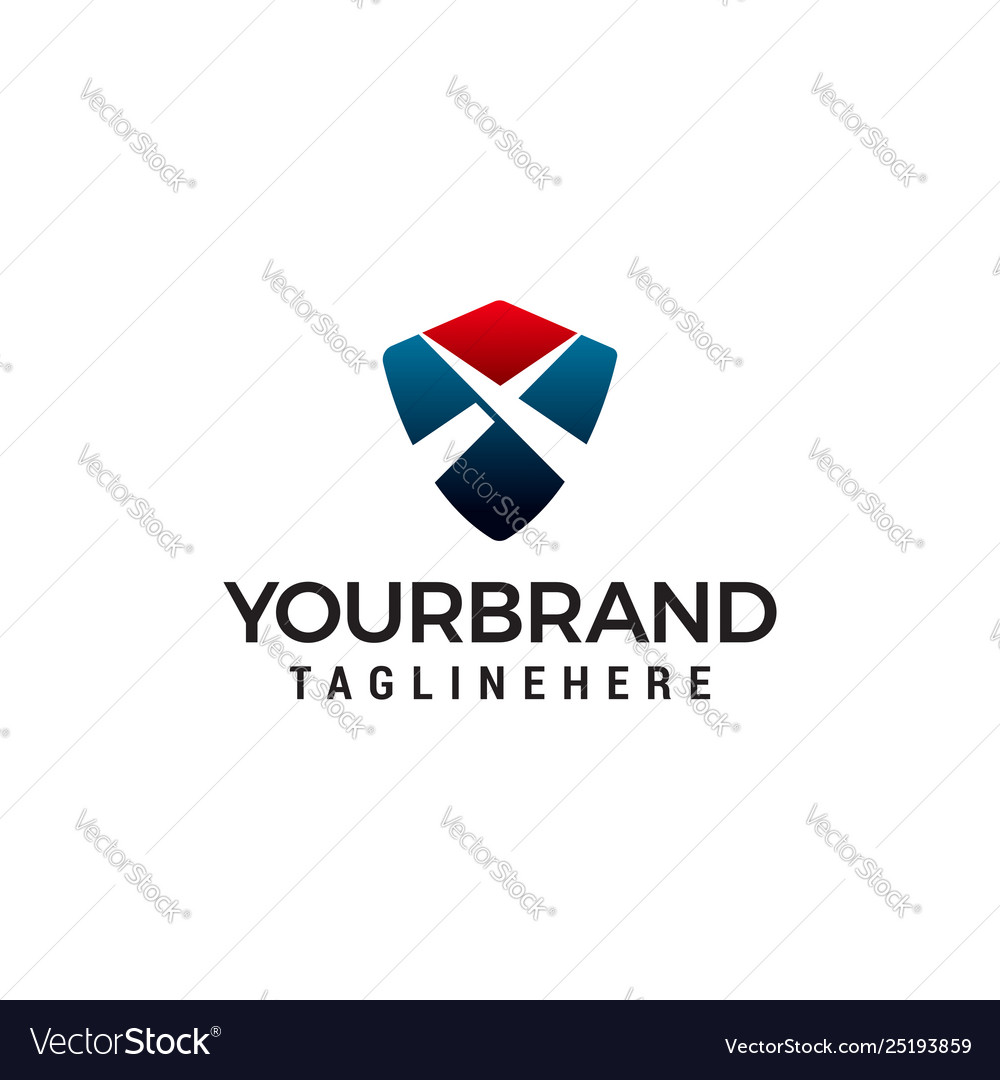 Letter x shield logo design concept template