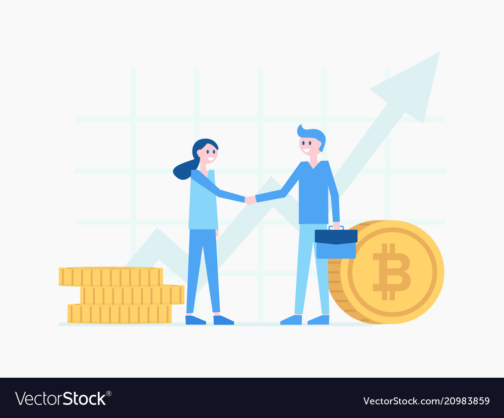 Man and woman shaking hands poster