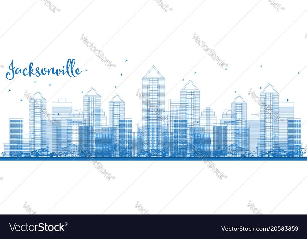 Outline jacksonville florida usa city skyline vector image