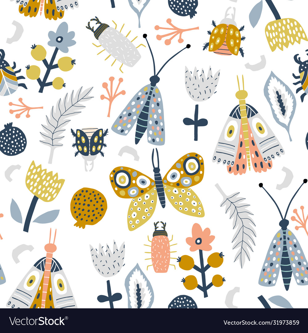 Seamless pattern with flowers moth butterfly