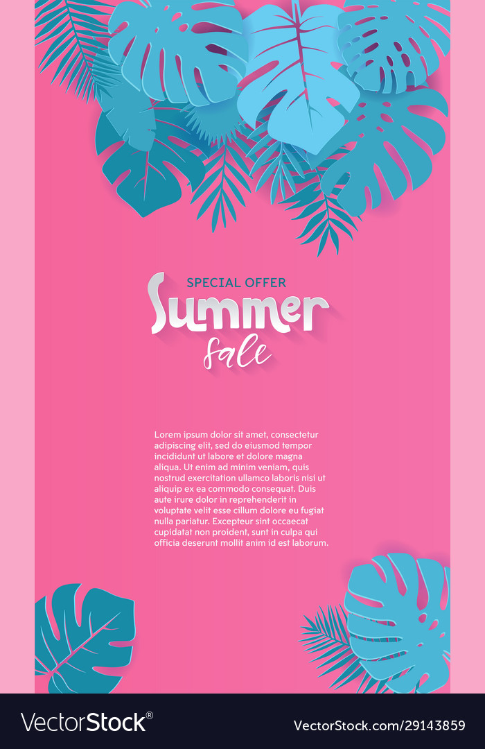 Vertical abstract summer sale paper cut background