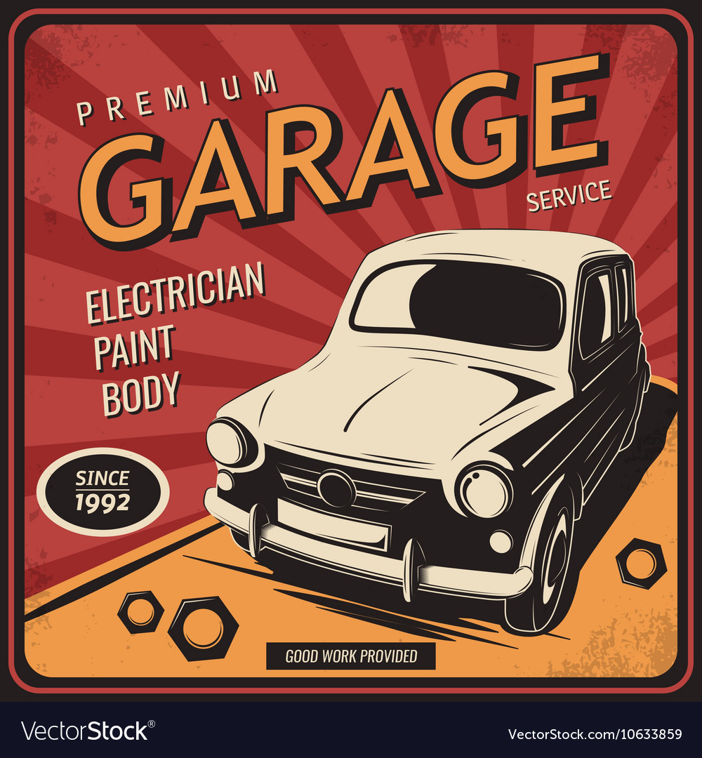 Vintage poster auto repair Royalty Free Vector Image