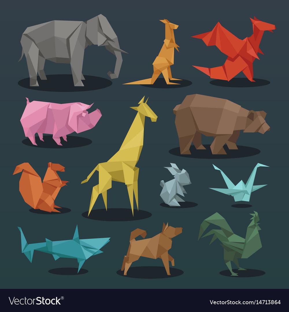 Animals origami set of wild animals creative