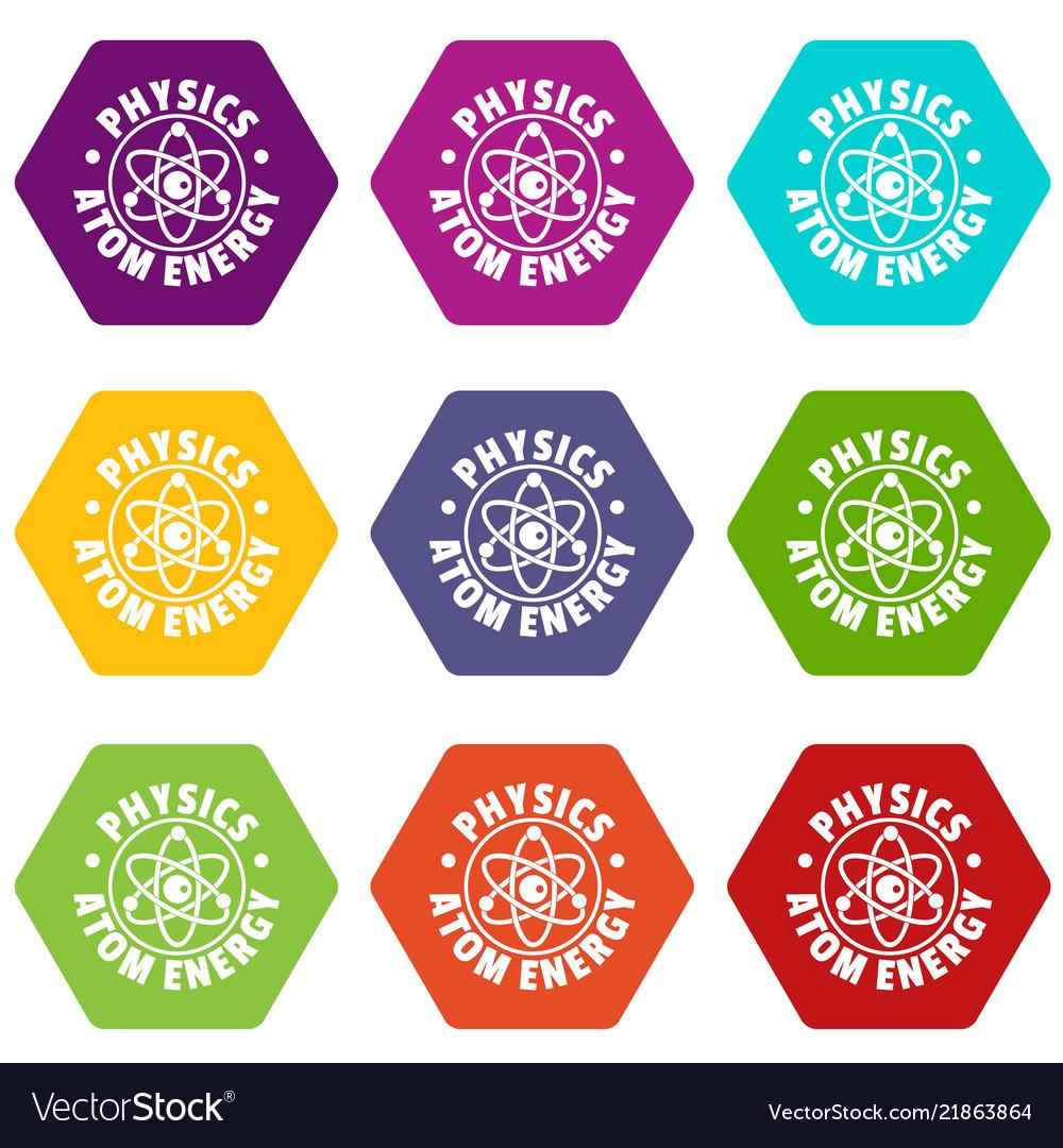 Atom energy icons set 9