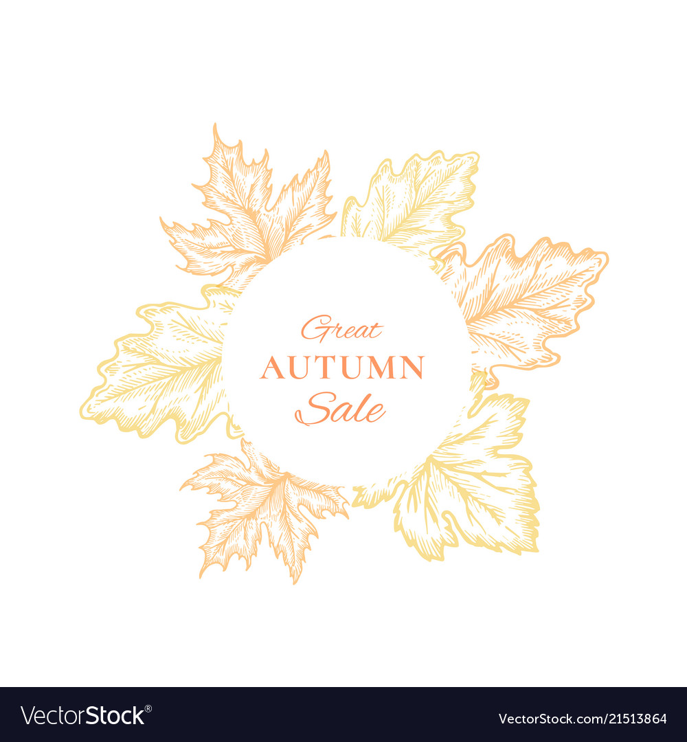Autumn sale frame emblem card or sign template