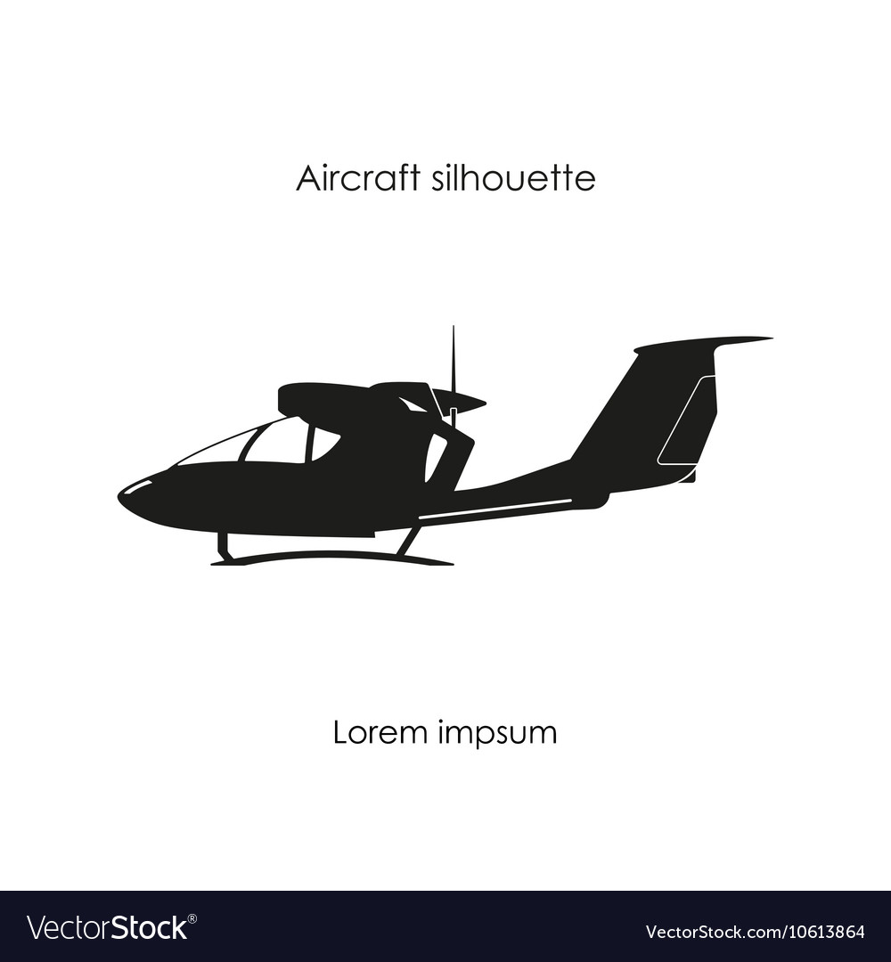 Black silhouette a sports plane