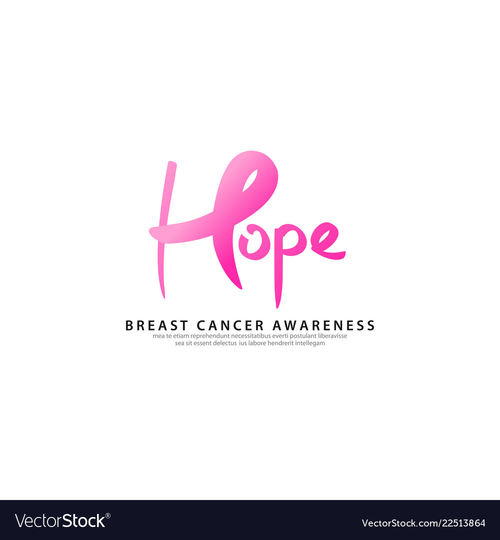 Breast cancer logo template with text hope