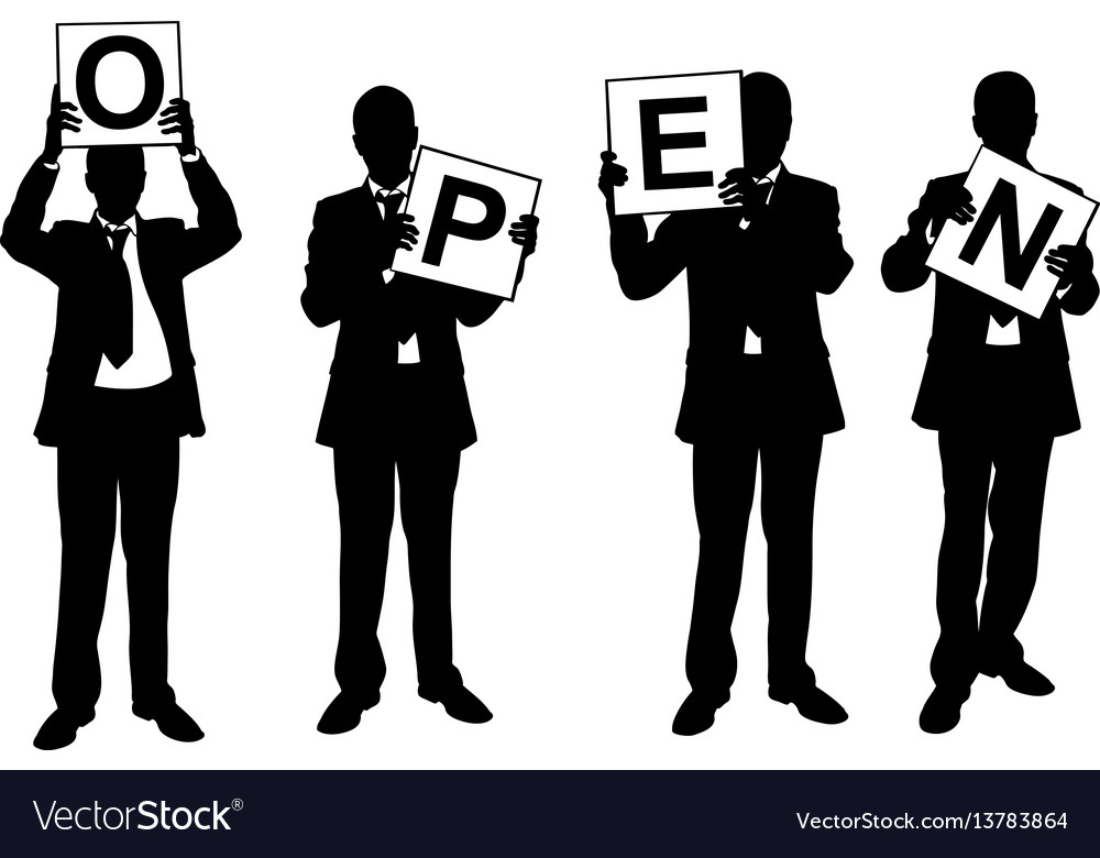 Businessmen holding signs vector image