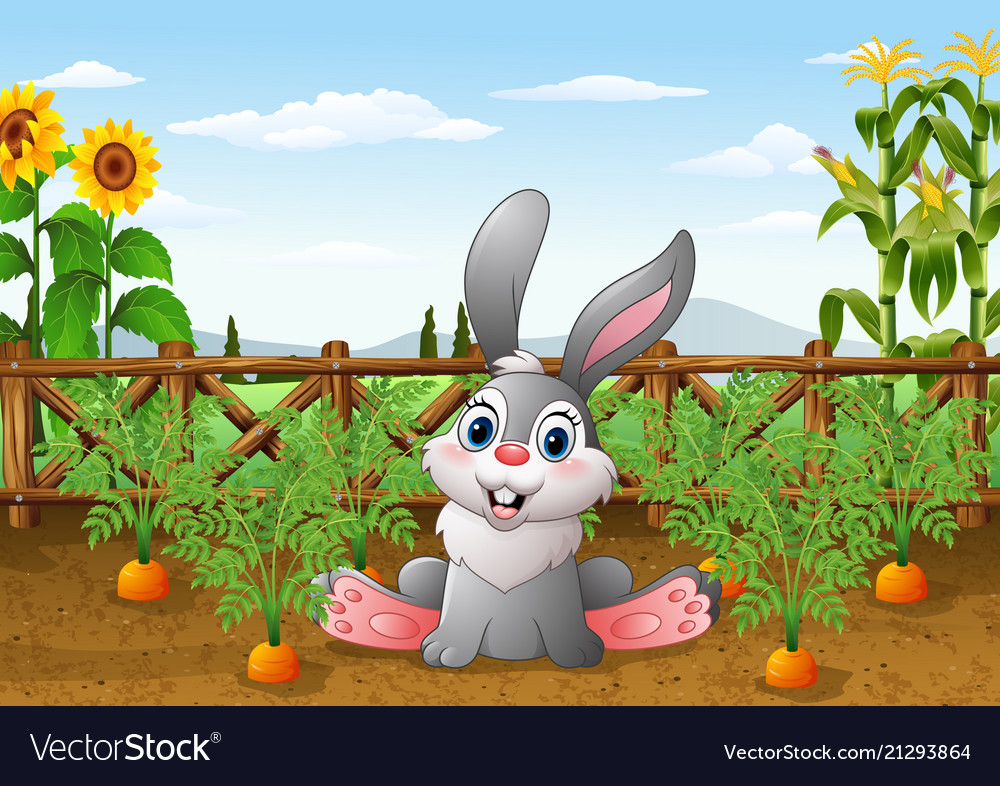 Cartoon rabbit with carrot plant in the garden