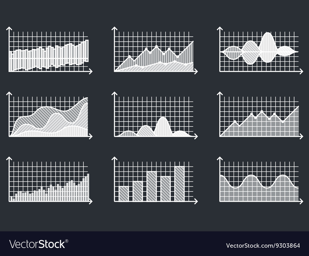 Charts in thin line style Outline graphs for