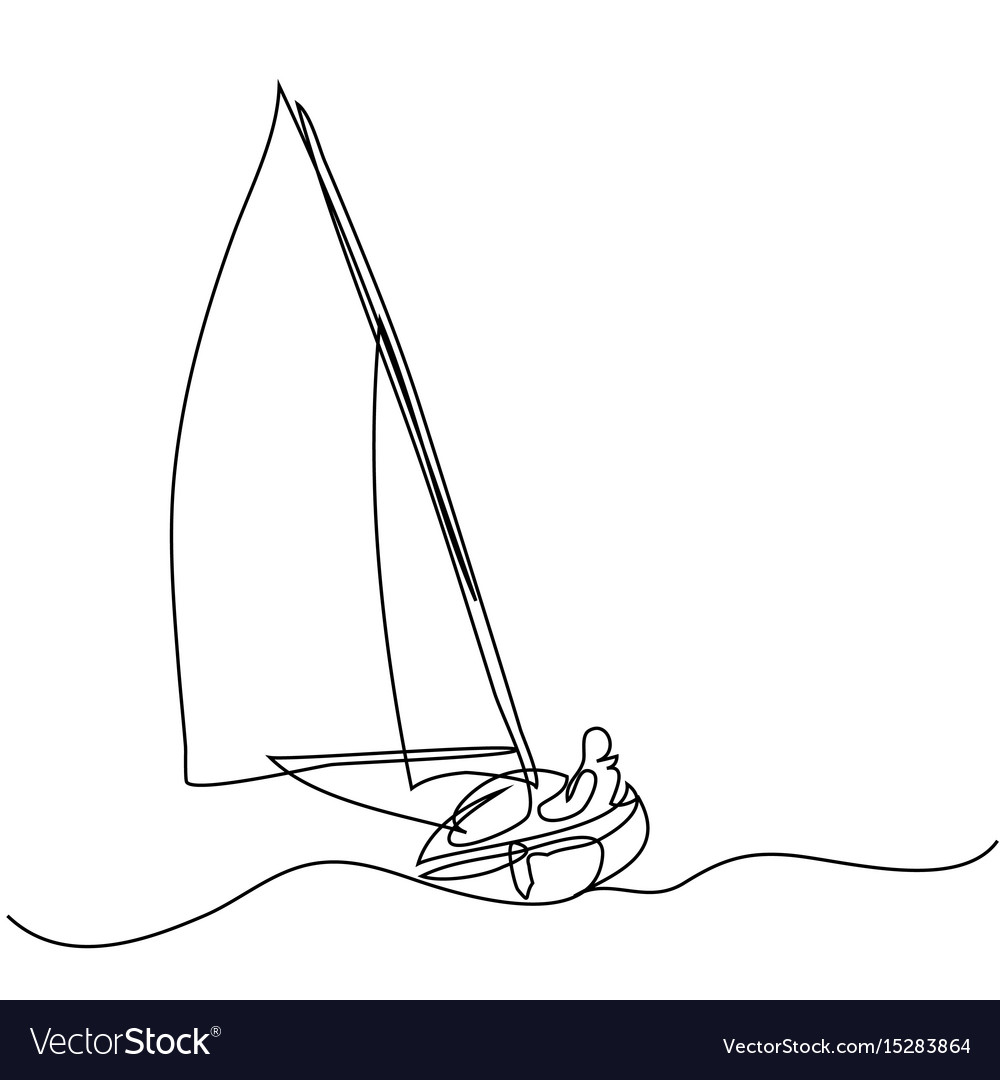 Continuous line drawing of sailboat with captain vector image