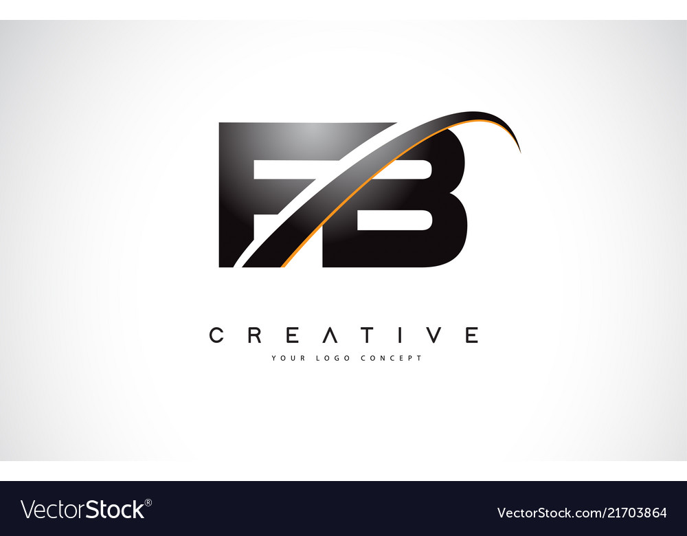 Fb F B Swoosh Letter Logo Design With Modern Vector Image Facebook's trademarks — including facebook, the facebook company wordmark, the f logo, like button icon, thumb icon, facebook live logo, find us on logo, facebook watch logo, and. vectorstock