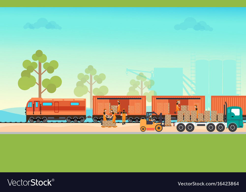 Freight Train Cargo Cars Royalty Free Vector Image