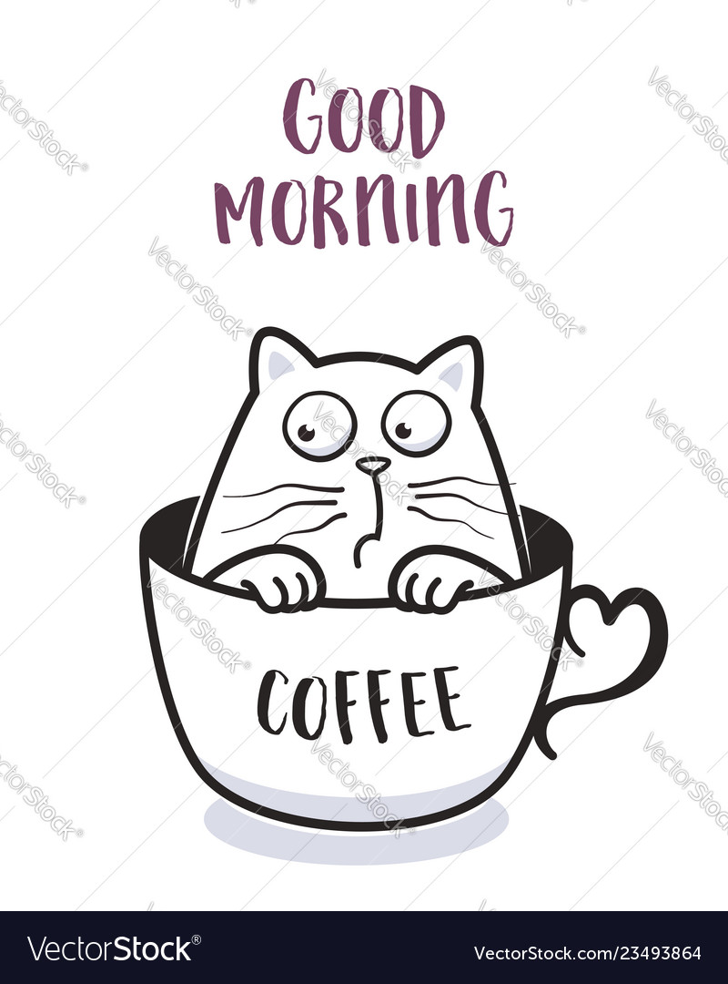 Funny cat in a cup of coffee for greeting card