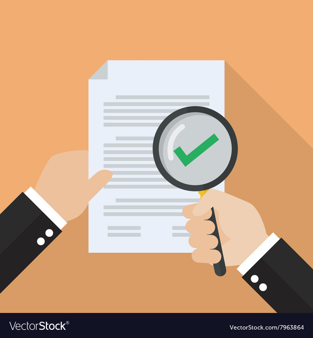 Hand holding magnifying glass with document paper