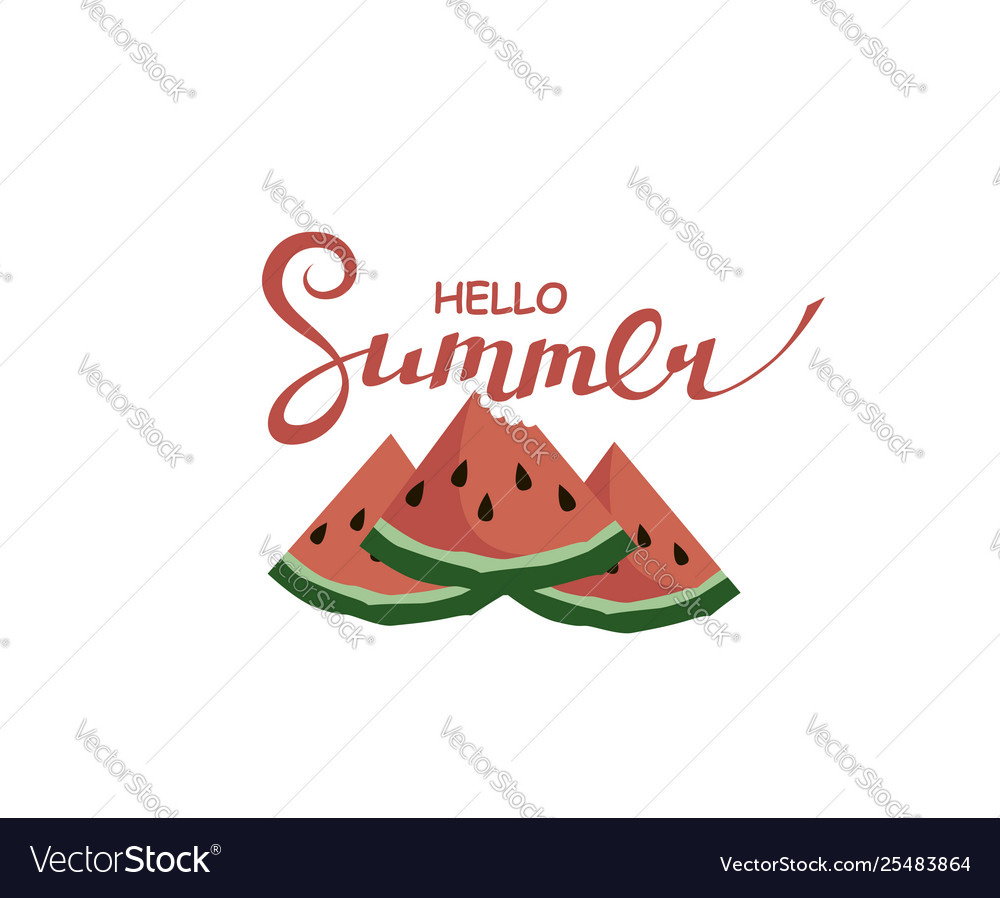 Hello summer lettering with watermelon