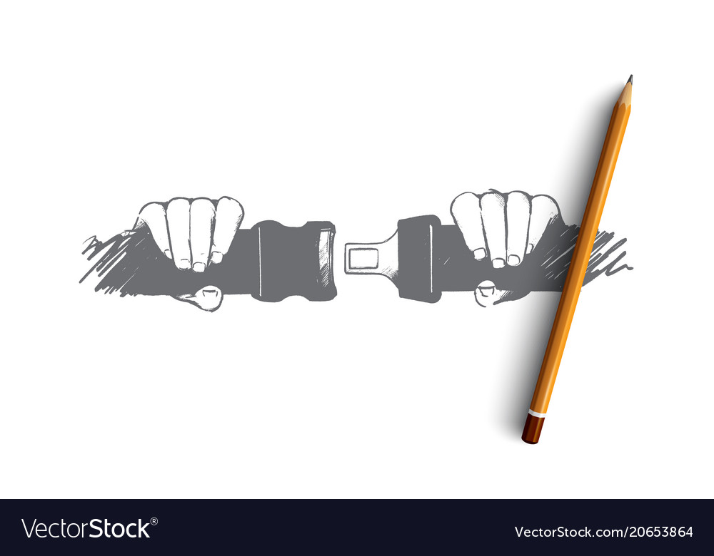 Safe driving concept hand drawn isolated vector image