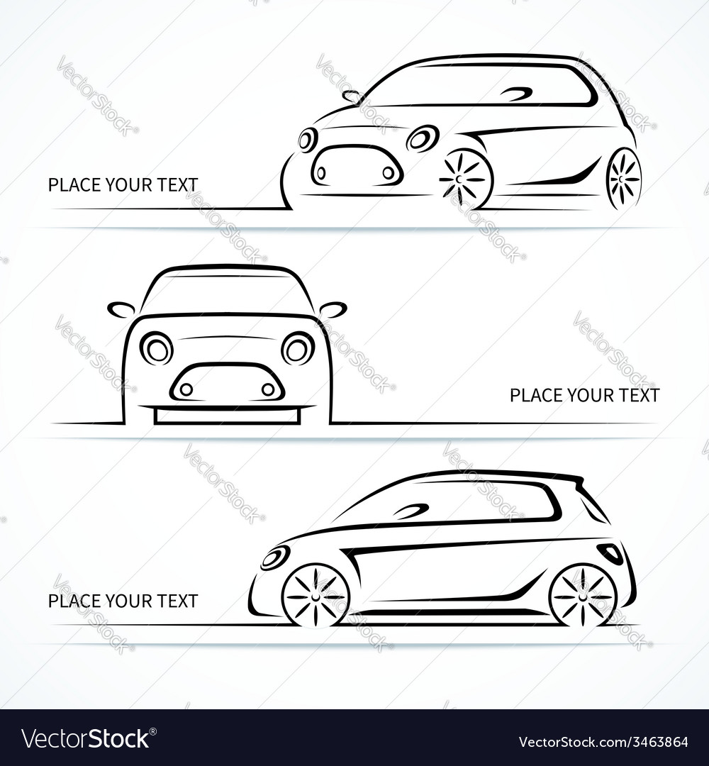 Set of modern compact car silhouettes
