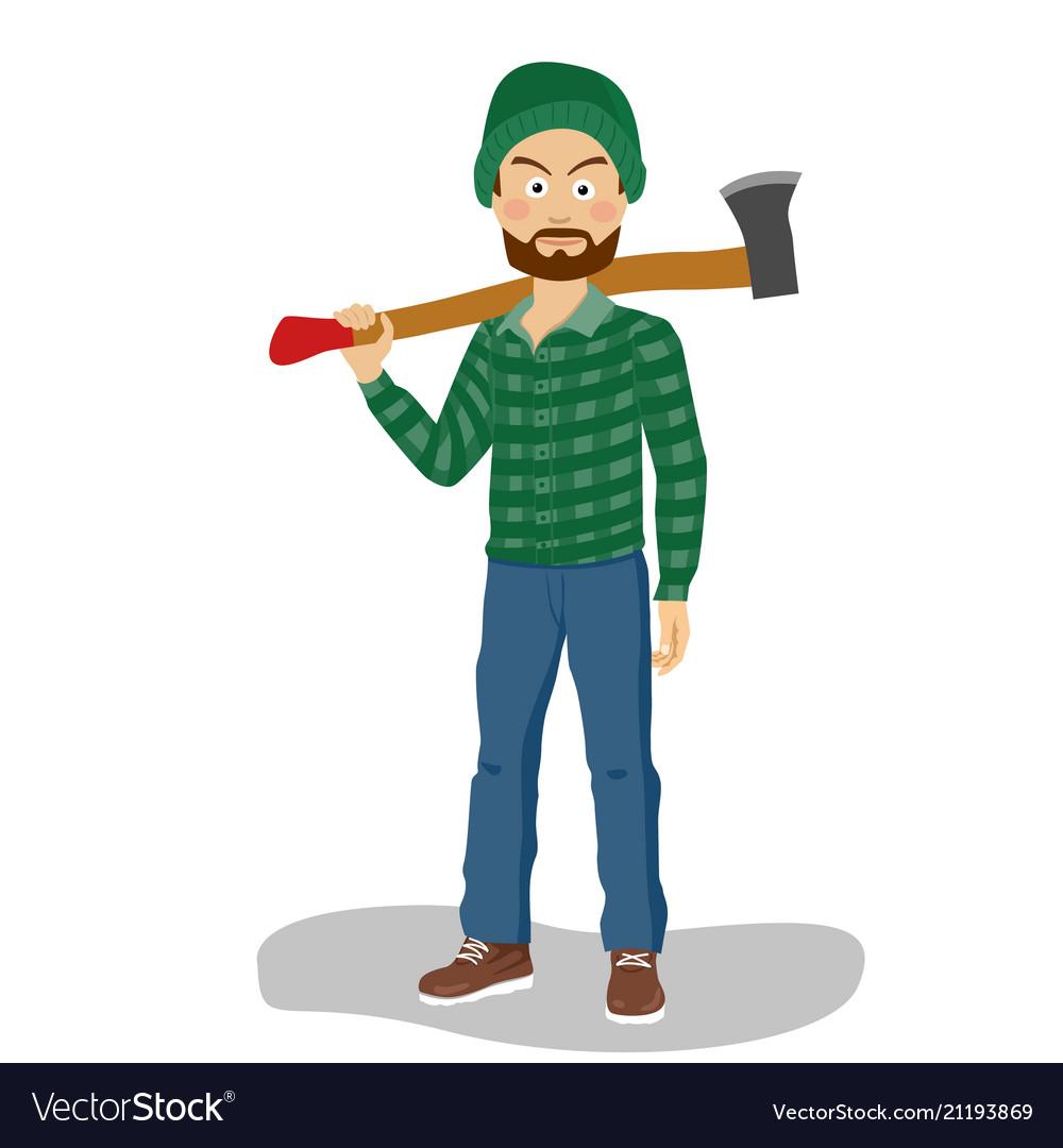 Bearded lumberjack in hat holding big axe