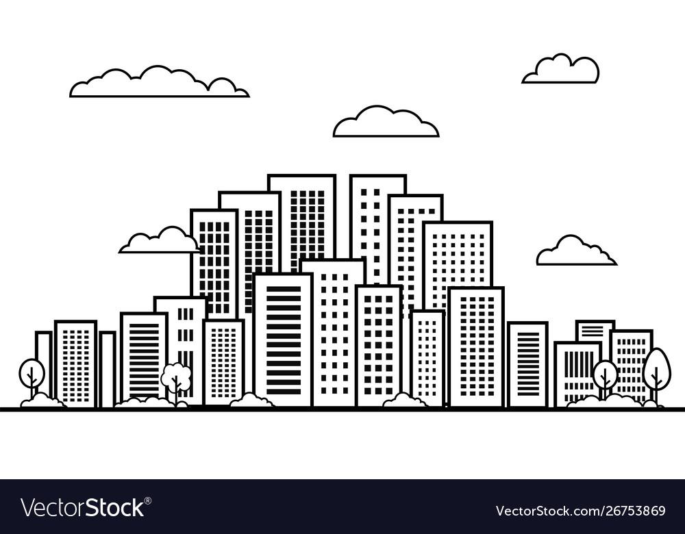 City on white background line building landscape