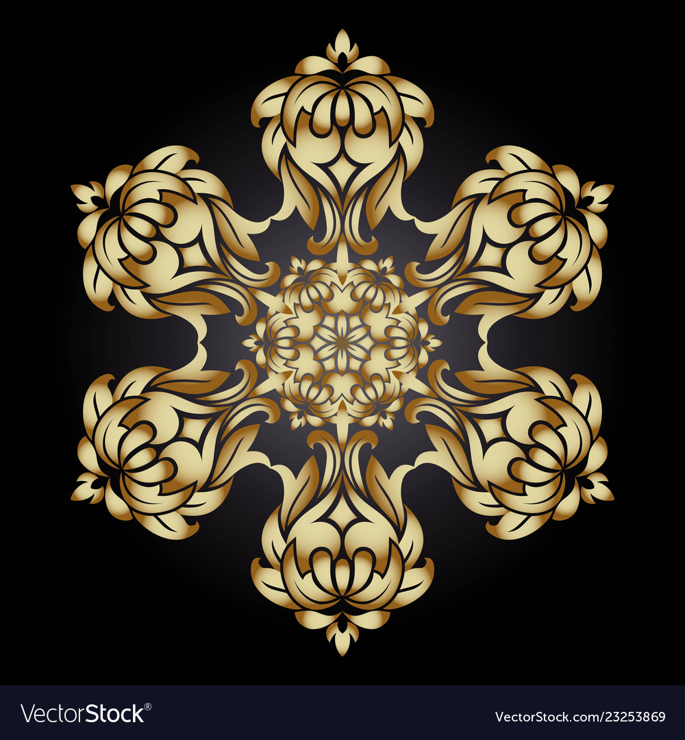 Golden ornament element in the form of a mandala