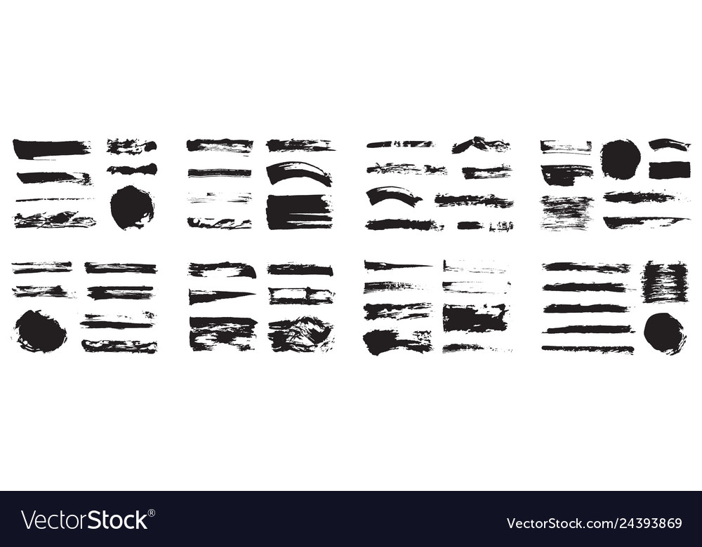 Korean chinese japanese ink brush strokes blots