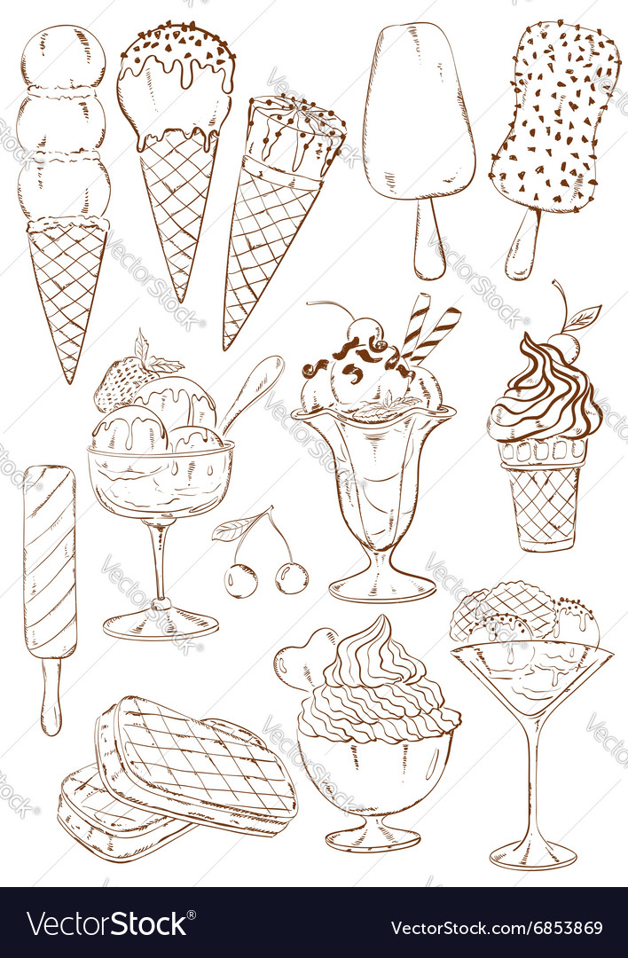 Set of isolated sketch ice cream icons