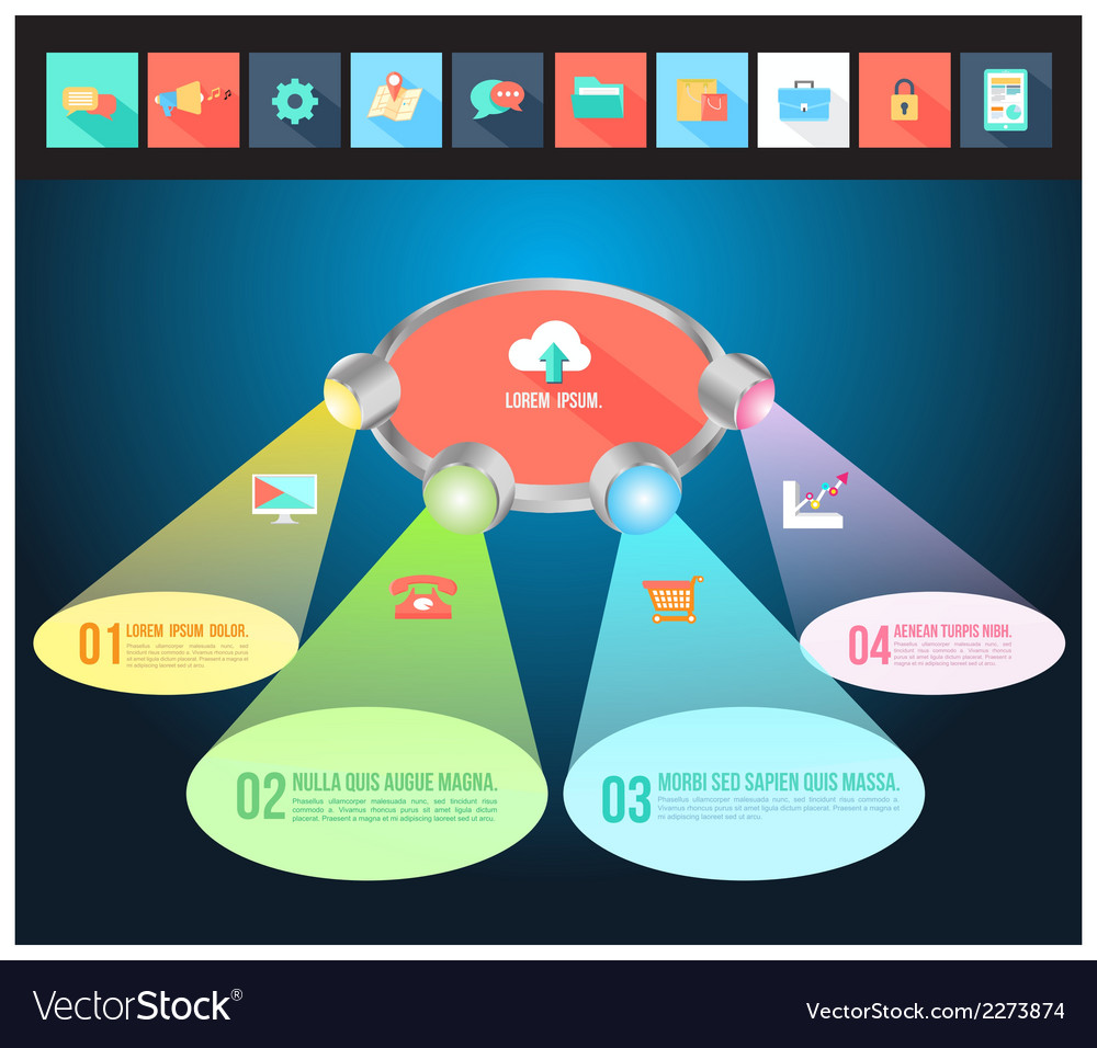 Abstract light 3D Infographic with flat icons