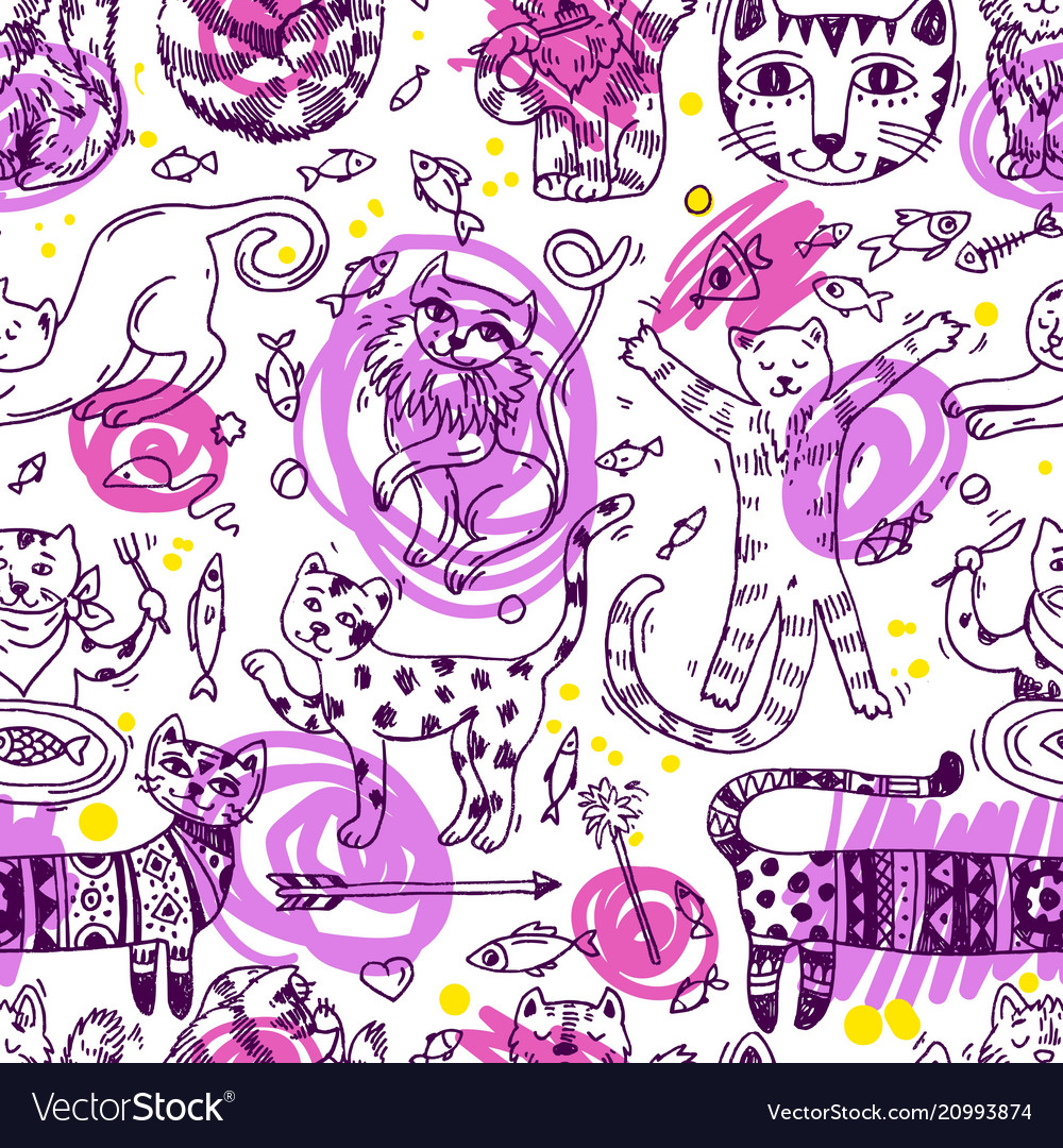 Beautiful hand drawn cute cats