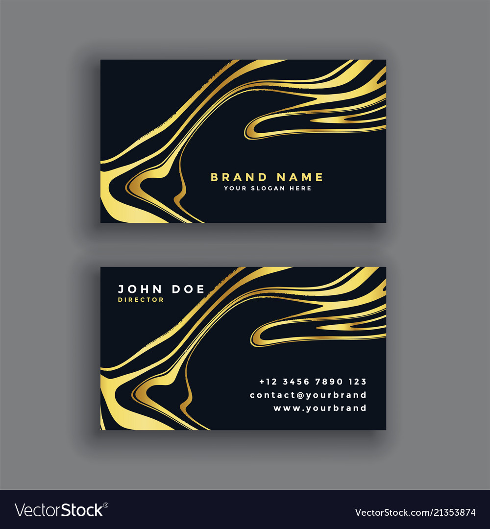 Black and gold luxury abstract business card vector image reheart Choice Image