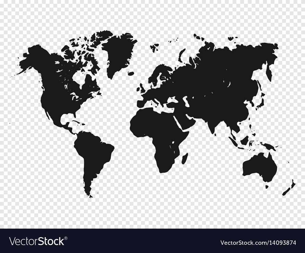 Black World Map Black world map silhouette on transparent Vector Image Black World Map