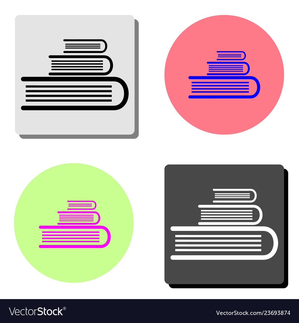 Book stack flat icon