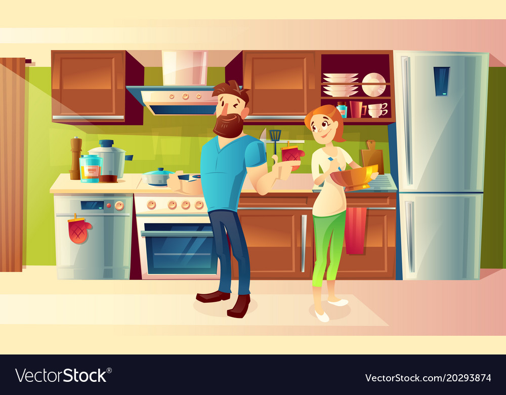 Cartoon happy couple in a modern kitchen Vector Image on animated kitchen, cartoon clean kitchen, top cartoon from the kitchen, drawing of cartoon kitchen, cartoon restaurant kitchen, cartoon mother with a kitchen,