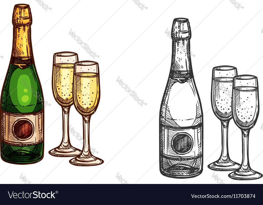 Christmas New Year champagne bottle glass sketch