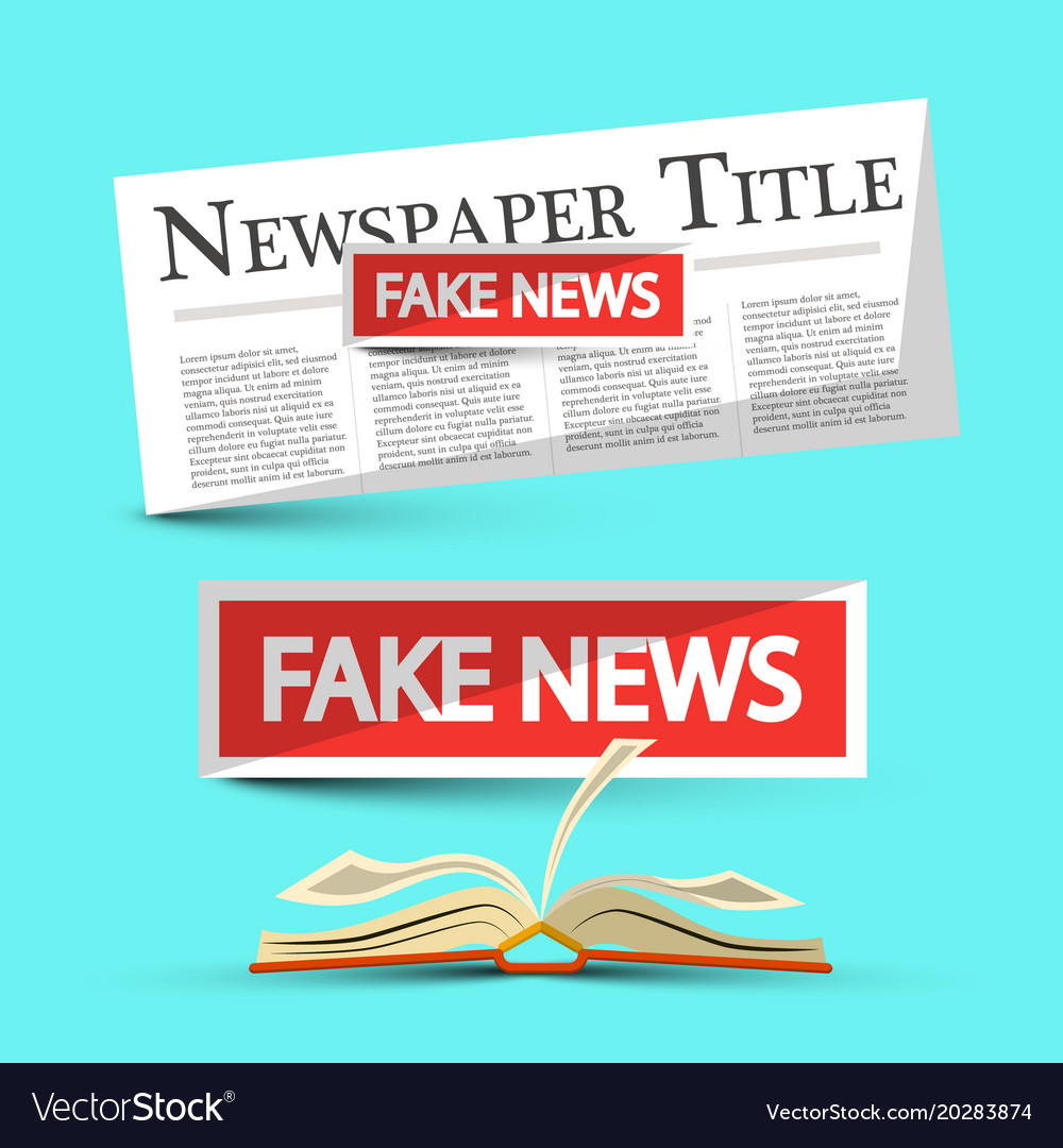 Fake news title on newspapers and book vector image