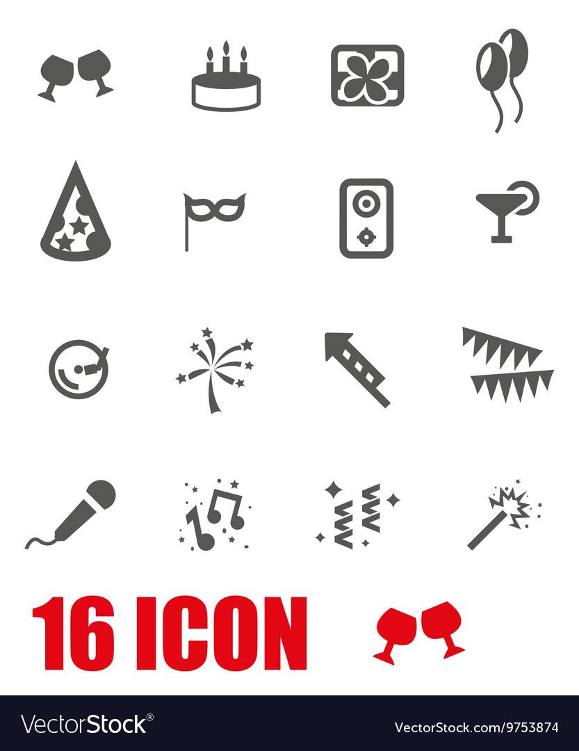 Grey birthday icon set