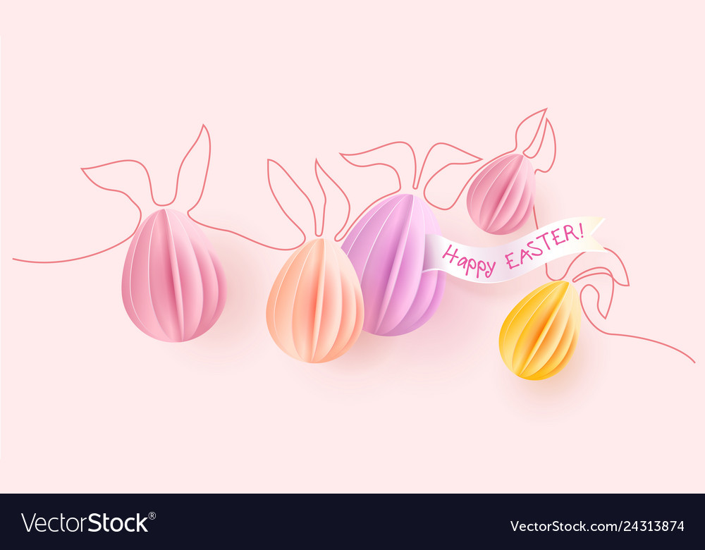 Happy easter card paper eggs with rabbit ears