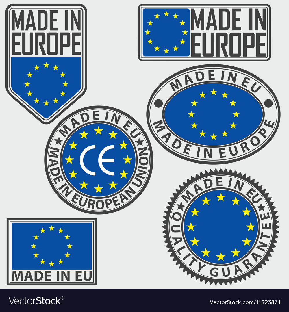 Made in Europe label set with flag made in EU sign