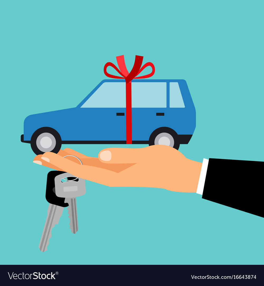 Man hand holding gift car