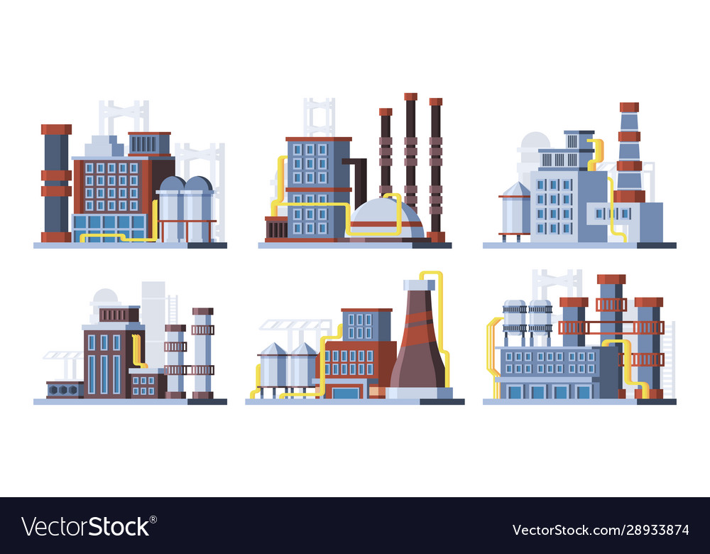 Manufacturing plants factories colorful flat