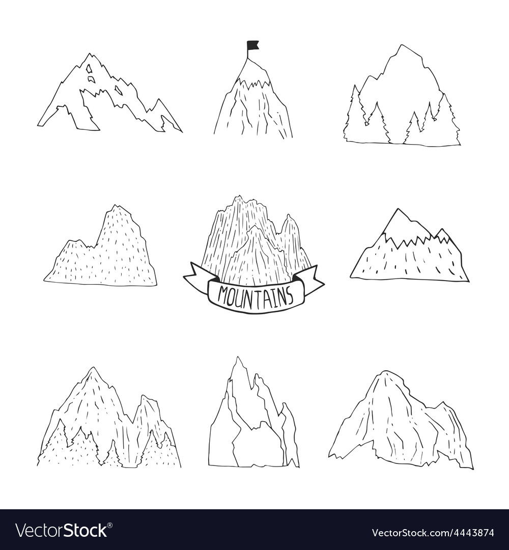 Mountains collection hand drawn mountain set