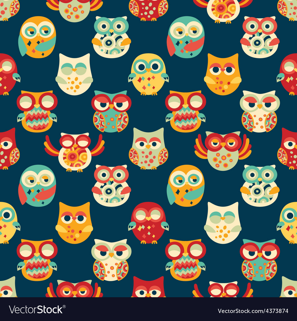 Seamless Pattern with Owls